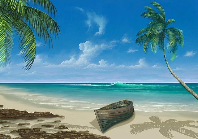 lodička na pláži